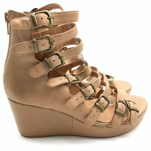 JEFFREY CAMPBELL ALL-CAPS GLADIATOR WEDGES 8.5